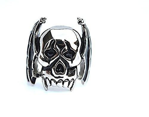 PAMTIER Herren Titan Stahl Vintage Retro Fledermaus Vampir Ring Gothic Biker Totenkopf Band Silber Größe 68 (21.6)