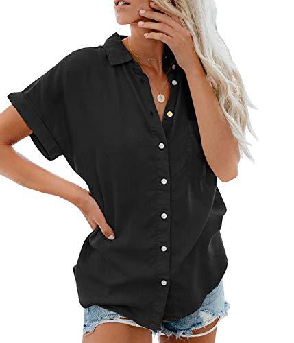 hirt Sommer Hemdbluse Kurzarm Hemd Tops Frauen Oberteile T-Shirt(bk,XXL) ()