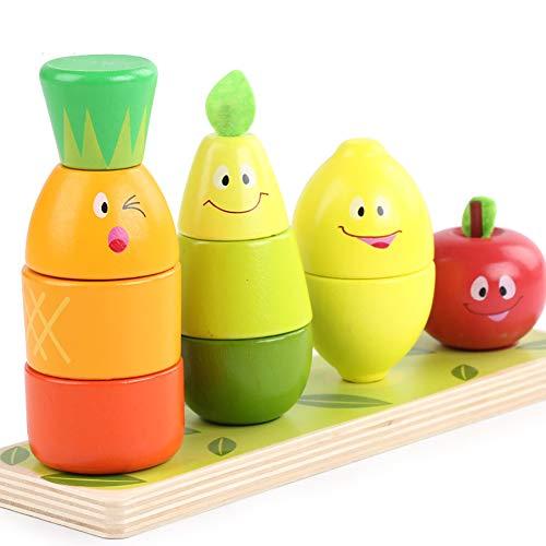 SU Kinder Spielzeug Bausteine Obst Stapel Turm Holz Cartoon Wasser-Basierte Farbe Puzzle Spaß Erleuchtung (Wasser-basierte Farben)