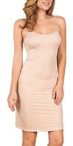 Zigma Fashion Damen Unterkleid Unterrock Nachthemd Underskirt Beige