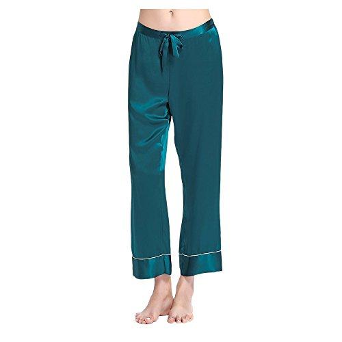 Lilysilk Chic Seide Pyjama Schlafanzug Hose Seidenhosen Nachtwäsche von 22 Momme Türkis