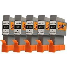 Start-Europe - Cartucho de tinta con chip compatible con BCI-21 / BCI-24 para impresoras Canon Pixma iP1000, iP1500, iP2000, MP110, MP130, MP390, i250, i255, i320, i350, i355, i450, i455, i470D, i475D, Smartbase MP360, MP370, MP375R, MP390, MPC190, MPC200, Pixus 320i, 455i, 475PD, MP10, MP360, MP370, MP375R, MP390, MP5, imageClass MPC190, MPC200, S200, S210, S300, S330, S330 Photo, Multipass F20, MP360 y MP370 (5 unidades), color negro