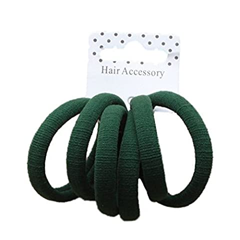 Set of 6 Bottle Green Soft Jersey Endless Hair Elastics Bobbles Bands by Pritties Accessories