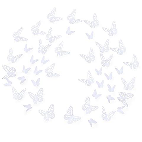 Luxbon 100pcs 3D Papillon Stickers Autocollant de mur DIY Art Chambre ornement papier blanc