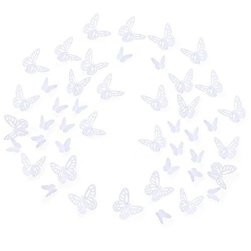 Luxbon 100 Stück 3D Schmetterling Wandtattoo Abziehbilder mit Klebepunkten Kinder Baby Schlafzimmer Deko Weiß