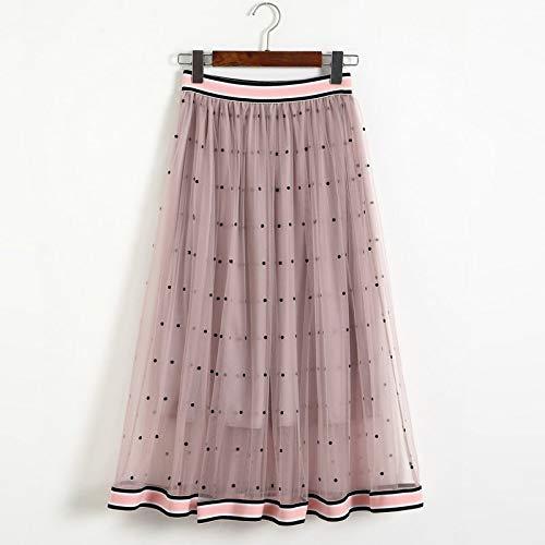 YKDDCC High-End-Kurzrock Fashion Wave Spleißen Röcke Sommer Röcke Elastische Taille Bump Farbe Diandian Gaze Rock Schöne und Bequeme Röcke Machen Sie schöner One Size pink -