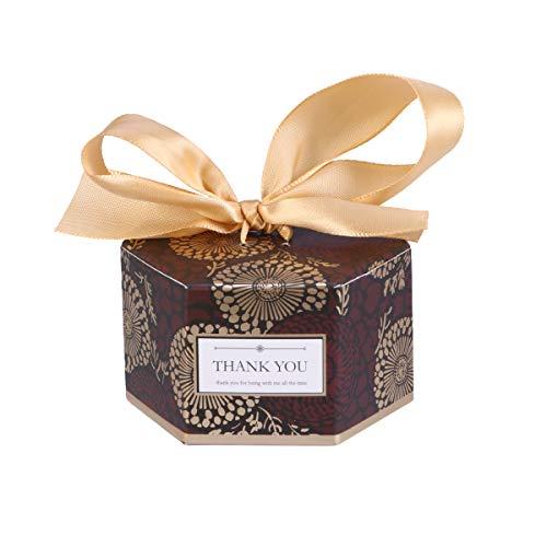 Amosfun 20 stücke Hochzeit süßigkeitskästen hexagonal BonBon Box geschenkboxen Gastgeschenk Kartonage für Hochzeit BabypartyTaufe (Kaffee Klein)