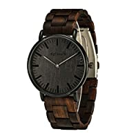 Minimalist Wooden Watches for Men/Women, shifenmei S5567 Slim Couples Wood Watches Analog Quartz Wrist Watch with Wooden Box (Ebony Wood)