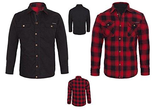 Preisvergleich Produktbild King Kerosin Wende Hemd Jacke Kevlar Rot-Schwarz Canvas L