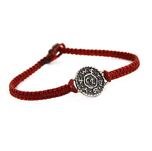 Tejido a mano pulsera de sello de Salomón en rojo para las mujeres con la vida y negocio amuleto