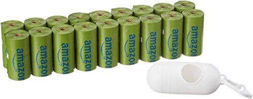 AmazonBasics - Bolsa mejorada para heces de perro con dispensador y pinza para correa - 270 unidades, polvo de talco