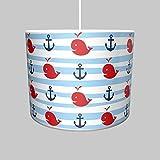 Dannenfelser Hängelampe Hängeleuchte Motiv maritim ANKER WAL Unterwasserwelt Durchmesser 35cm inkl. Kabel und Fassung weiß 14493