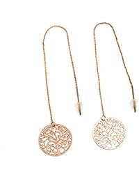 BO570F - Boucles d'Oreilles Traversantes Fine Chaîne avec Cercle Ciselé Arbre de Vie Métal Or Rose - Mode Fantaisie