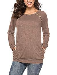 NICIAS Damen Langarmshirt Pullover Lässige Rundhals Sweatshirt  Schaltflächen Hemd T Shirt Bluse Tunika Top mit… a1d0cceaac