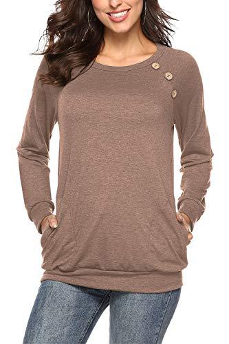 NICIAS Damen Langarmshirt Pullover Lässige Rundhals Sweatshirt Schaltflächen Hemd T Shirt Bluse Tunika Top mit Taschen Khaki XXL
