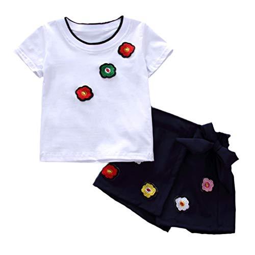 Zeside (1-4T Kinder kurzärmelig Bestickt T-Shirt Top + Shorts Set` Kleinkind Cosplay Kostüm, Home Daily Kleid, Party, Geburtstag, Halloween Gr. 110 cm, - Fett Kostüm Für Kleinkind