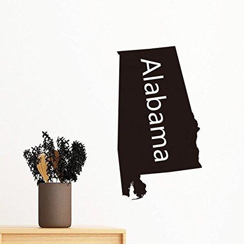 Alabama der Vereinigten Staaten von Amerika USA Karte Silhouette abnehmbarer Wandtattoo Kunst Aufkleber Wandbild DIY Tapete für Raum Aufkleber 60cm (Vereinigte Staaten-map-kunst)