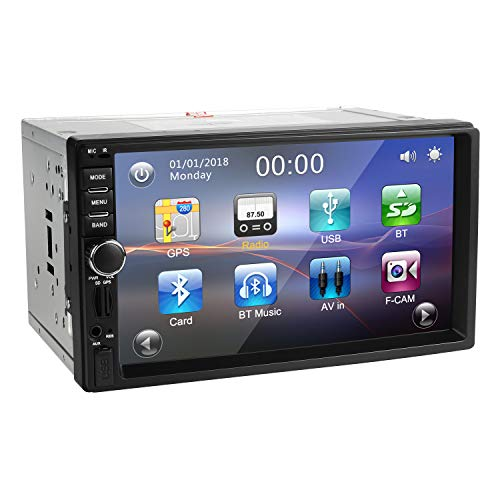 Autoradio 2 Din Con Navigatore Bluetooth, Amkle Stereo Touch Screen GPS Con Telecamera Posteriore, Auto Radio RDS/FM, Player Multimedia Musica Video WiFi/Aux/Microsd/USB Per Smartphone