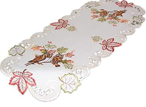 ischdecke 40 x 90 cm oval Creme Eule Kauz Blätter bunt gestickt Herbst Eulendecke (Tischläufer 40x90 cm) ()