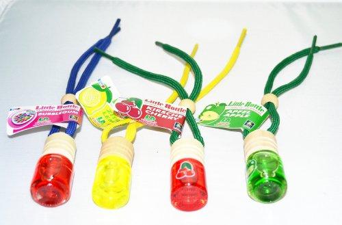 4 Stück L&D elegante Duftflakons fürs Auto Little Bottle MIX 4: Je 1 Duftflakon in Bubble Gum (Kaugummi), Lemon (Zitrone), Cherry (Kirsche) und Apple (Apfel)