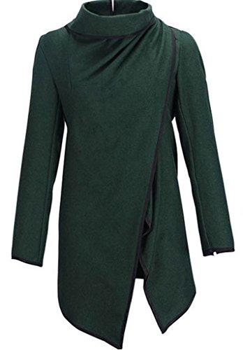 Smile YKK Cardigan Femme Lin Manteau Veste Automne Hiver Tops à Manches Longues Mode Vert Foncé