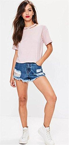 Moda Scoperta Neck Raw Fondo Distressed Destroyed Broken Ripped Holes Hole a Maniche Corte T-Shirt Maglietta Tee Top rosa Rosa