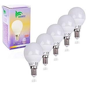 BIHRTC 5 Stück 5W E14 G45 LED Lampen Leuchtmittel Kaltweiß 6000K-6500K Schraube LED Glühbirne Energiesparlampe ersetzt 40W Glühlampen,220V-240V 400 Lumen 220° Abstrahwinkel Nicht dimmbar LED Birnen