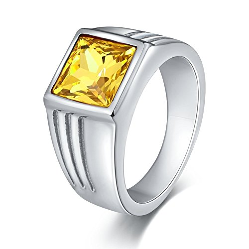 SonMo Stainless Steel Herren Ringe Bandring mit Diamanten Herrenring Zirkonia Schwarz Gelb Signet Ring Band Ring Daumenring für Mann (Band Ring Gold Herren Gelb Hochzeit)
