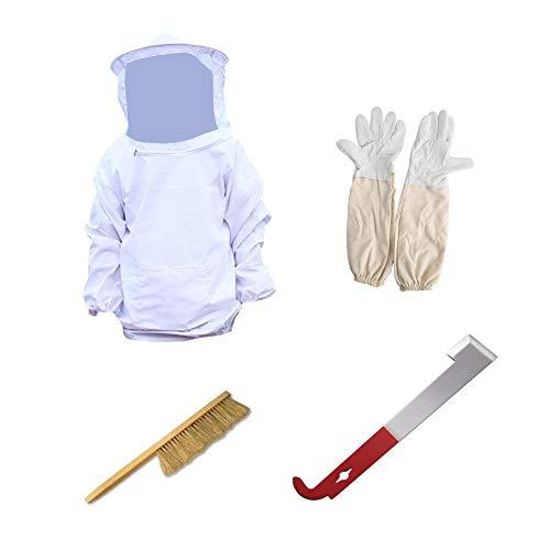 Deanyi Schutz Bienenzucht Jacke Schleier Anzug Bienenzucht Langarm Handschuhe Beehive Pinsel Haken Werkzeug-Fachmann und Anfänger Imker 1 Set