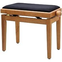 Classic Cantabile - Panca per il piano stabile, regolabile in altezza da 47 a 56 cm, superficie di seduta 55 x 32 cm, rivestimento in velour, Faggio