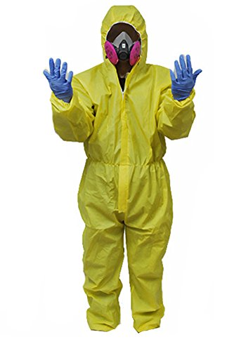 Gogam Breaking Bad Hazmat Lab WAlterr White Jumpsuit Kostüm Gelb (Gelber Jumpsuit Kostüm Breaking Bad)