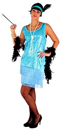 Jahre Damen Kleid Charleston Kostüm, türkis, Größe:S (Gangster Frau Halloween Kostüme)