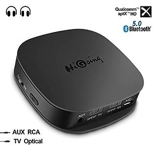 HiGoing Bluetooth 5.0 Transmitter Empfänger, Bluetooth Adapter 2 in 1 Sender Receiver mit Optischem Toslink/SPDIF und 3.5 mm AUX, Zwei Verbindungen für Heim-Stereoanlage und Auto-Soundsysteme etc