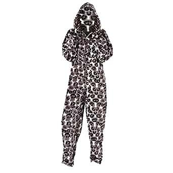 damen kapuzen fleece hausanzug onesie leopardenmuster. Black Bedroom Furniture Sets. Home Design Ideas