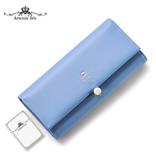 Artemis'Iris Womens perla elegante Agraffe Leather Wallet grande capacità Cards Holder Money Organizer borsa lunga, rosa blue