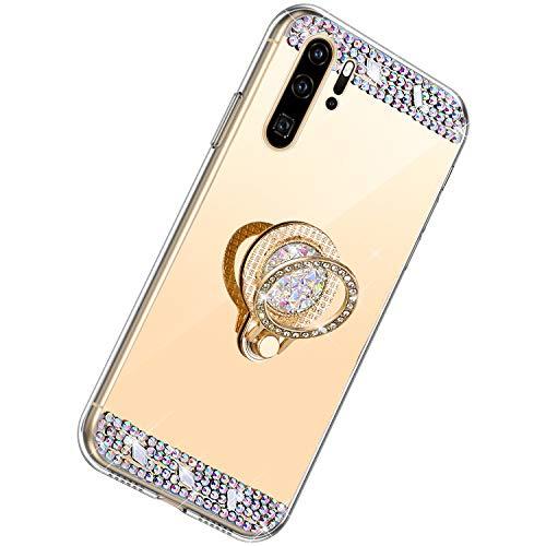 Herbests Kompatibel mit Huawei P30 Pro Hülle Glitzer Kristall Strass Diamant Silikon Handyhülle mit Ring Halter Ständer Schutzhülle Überzug Spiegel Clear View Handytasche,Gold
