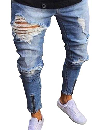 BOLAWOO Slim Fit Herren Destroyed Jeans Look Vintage Hose Stretch Mode Zerissene Mode Marken Denim Hosen Freizeithose Jeanshose (Color : Hellblau, Size : L) -