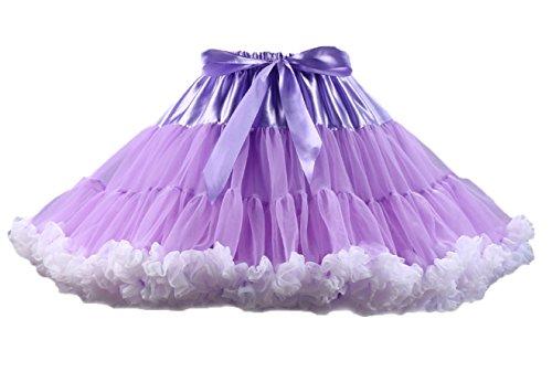 Juliet Moderne Kostüm (Honeystore Tanzkleid Ballettrock Kinder Mädchen Damen Tutu Rock Schleife Pettiskirt für Show Party Cosplay Violett und Weiß One)
