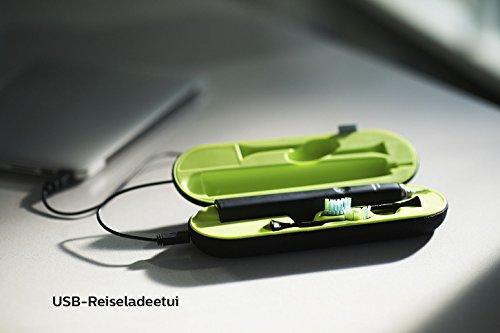 Philips Sonicare DiamondClean Elektrische Zahnbürste HX9359/89 - Schallzahnbürste mit 5 Putzprogrammen, Timer, USB-Reise-Ladeetui & Ladeglas - Schwarz