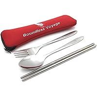 Conjunto portátil de 3 piezas de cubiertos de acero inoxidable con funda de neopreno de Boundless Voyage, cuchara, tenedor y palillos chinos para camping o viaje, rojo