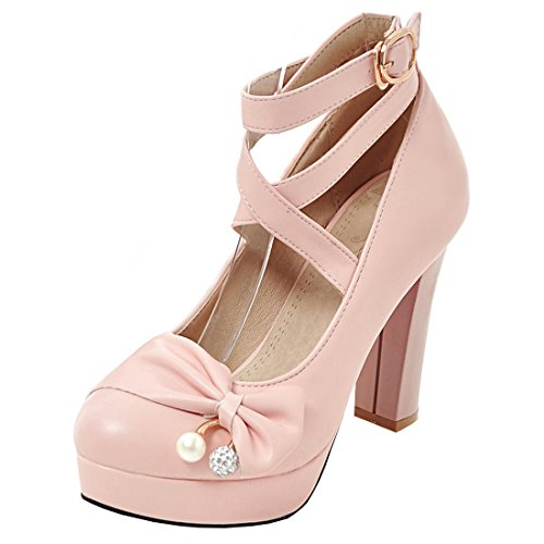 Artfaerie Damen Ankle Strap Blockabsatz High Heels Pumps mit Schleife und Plateau Mary Jane Riemchen Schuhe(EU 40,Rosa) Ankle Strap Mary Jane Pump