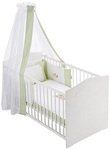 Easy Baby 800–02Set complet de lit avec broderies, Tour de lit et ciel, motif ours bascule, 100/135+ 40/60, vert