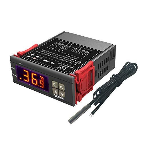 diymore STC-1000 Digitaler Temperatur Regler Thermostat DC 12-72V Temperaturkalibrierung Heizung Kühlung mit NTC-Temperatursonden -