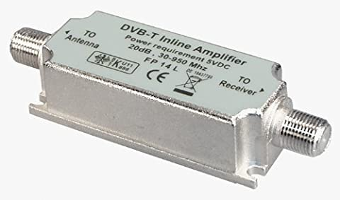 Transmedia FP14L DVB-T Inline Verstärker (30-950MHz, Verstärkung 20dB)