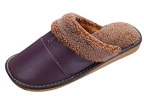 Minetom Inverno Unisex Morbido Caldo Peluche Casa Pantofole Cartone Coniglio Spessore Inferiore Antiscivolo Pattini Donna Uomo Scarpe Slippers B- Viola
