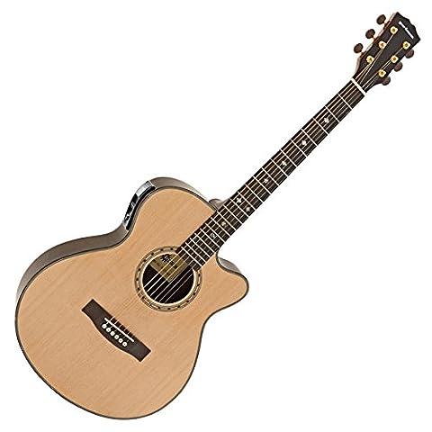 Deluxe Single Cutaway Elektro-Akustik Gitarre natur (Single Cutaway Gitarre)