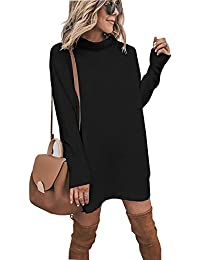 Walant Pull Femme Tops en Maille à Manches Longues Col Rond Robe Tunique Oversize Hauts Mode Slim Tricot Chandail Automne Hiver Chaud Blouse Dress