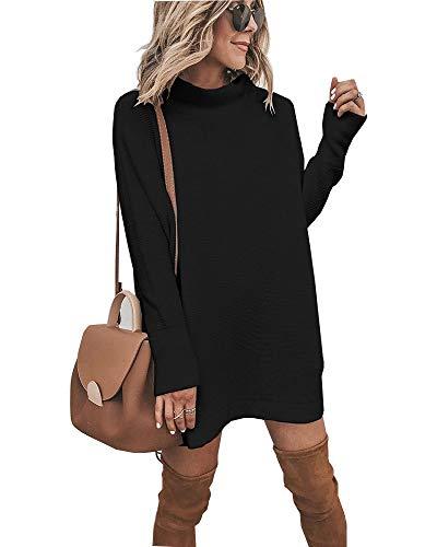 Walant Pull Femme Tops en Maille à Manches Longues Col Rond Robe Tunique Oversize Hauts Mode Slim Tricot Chandail Automne Hiver Chaud Blouse Dress - Noir - XL