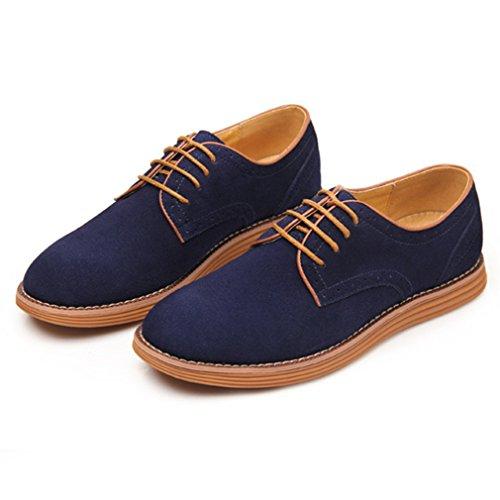 Feidaeu Homme Chaussure à Lacet en Suédé Dépoli Loisirs Quotidien Hidden Wedge Bout Rond Plat Anti-Dérapant Mocassin Derby Bleu