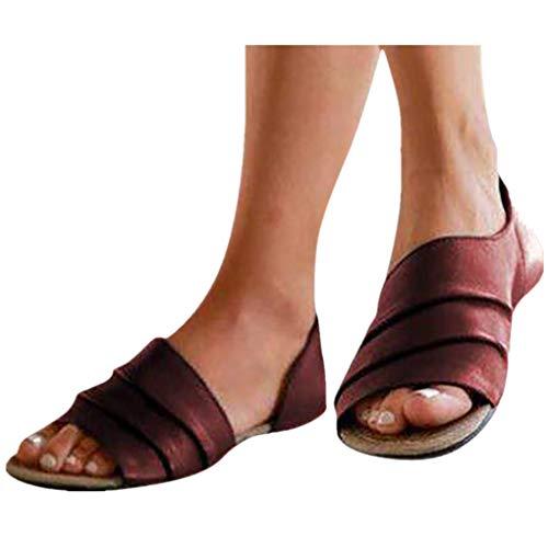 Übergroßer Sandalen für Damen/Dorical Frauen Sommer Retro-Peep-Toe-Sandalen mit seitlicher Abdeckung Damenschuhe Mode einfache PU-Leder Schuhe rutschfest 35-43 EU Ausverkauf (43 EU, Z03-Braun)